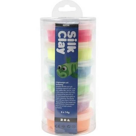 Masa plastyczna Silk Clay zestaw 6x14g kolory neonowe